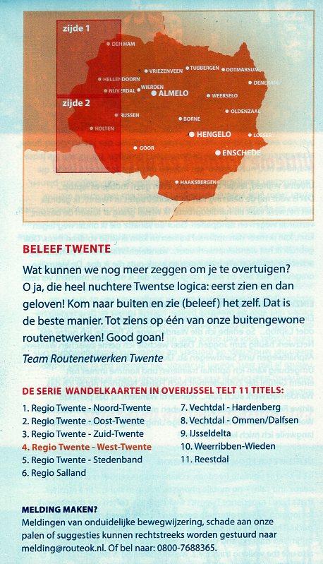 Wandelkaart West-Twente 1:33.333 WNTWT Wandelnetwerk Twente Wandelnetwerk Twente Wandelnetwerk Overijssel  Wandelkaarten Twente