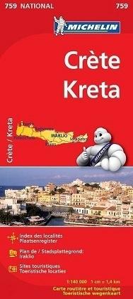 759  Kreta 1:140.000 | Michelin wegenkaart 9782067173194  Michelin   Landkaarten en wegenkaarten Kreta