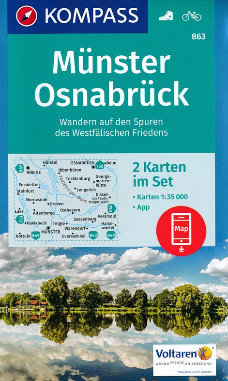 KP-863 Münster, Osnabrück | Kompass wandelkaart 1:35.000 9783990442456  Kompass Wandelkaarten Kompass Duitsland  Wandelkaarten Münsterland, Bentheim