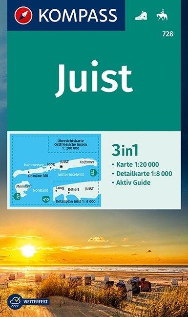 KP-728 Insel Juist | Kompass wandelkaart 1:20.000 9783990447581  Kompass Wandelkaarten Kompass Duitsland  Wandelkaarten Ostfriesland