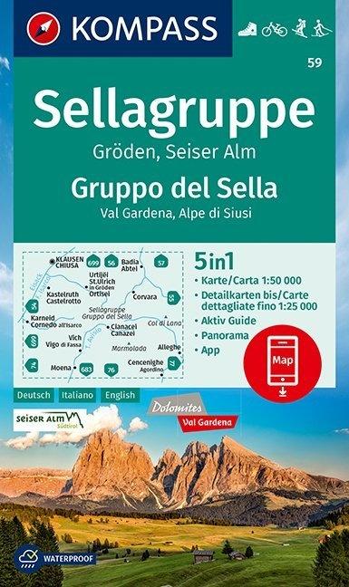 KP-59 Sellagruppe-Marmolada 1:50.000   Kompass wandelkaart 9783990448373  Kompass Wandelkaarten Kompass Italië  Wandelkaarten Zuid-Tirol, Dolomieten