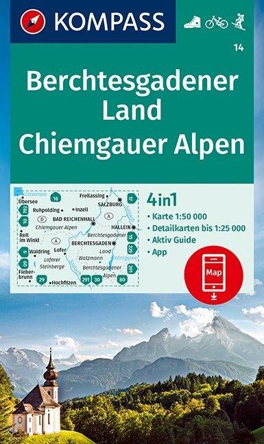 KP-14  Berchtesgadener Land Chiemgau | Kompass wandelkaart 9783990448403  Kompass Wandelkaarten Kompass Duitsland  Wandelkaarten Beierse Alpen