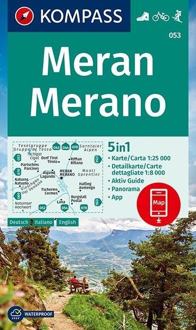 KP-053 Meran/Merano | Kompass wandelkaart 9783990448540  Kompass Wandelkaarten Kompass Italië  Wandelkaarten Zuid-Tirol, Dolomieten