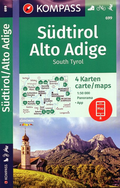 KP-699 Südtirol, Alto Adige | set v. 4 Kompass wandelkaarten 1:50.000 9783990448564  Kompass Wandelkaarten Kompass Italië  Wandelkaarten Zuid-Tirol, Dolomieten