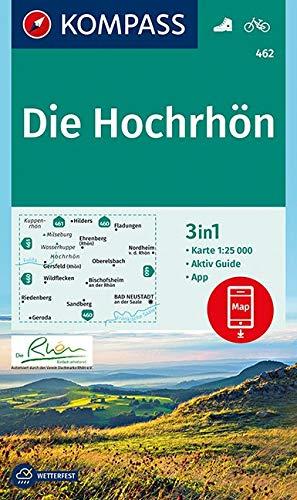 KP-462 Die Hochrhön | Kompass wandelkaart 1:25.000 9783990449158  Kompass Wandelkaarten Kompass Duitsland  Wandelkaarten Odenwald, Spessart en Rhön