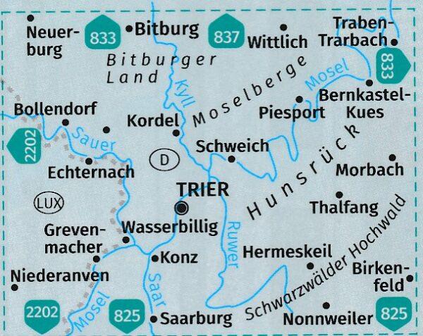 KP-834   Mosel, Region Trier 1:50.000 | Kompass wandelkaart 9783990449189  Kompass Wandelkaarten Kompass Duitsland  Wandelkaarten Moezel, van Trier tot Koblenz
