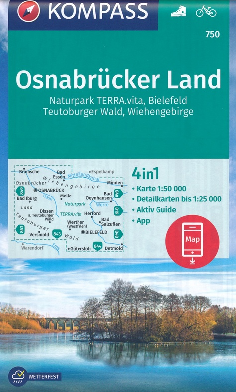 KP-750  Osnabrücker Land, Wiehengebirge 1:50.000 | Kompass wandelkaart 9783990449196  Kompass Wandelkaarten Kompass Duitsland  Wandelkaarten Sauerland