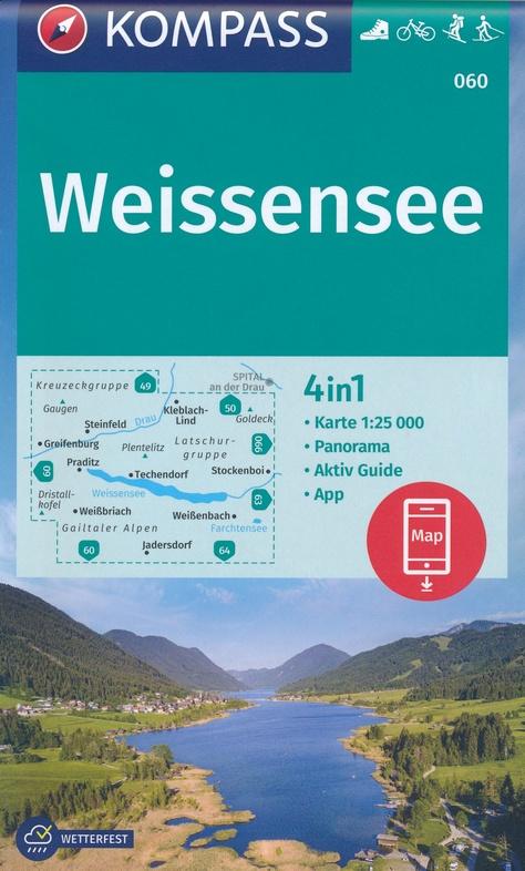 KP-060 Weissensee | Kompass wandelkaart 9783990449370  Kompass Wandelkaarten Kompass Oostenrijk  Wandelkaarten Salzburg, Karinthië, Tauern, Stiermarken