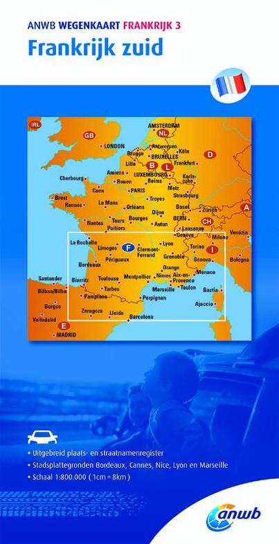 Zuid-Frankrijk | ANWB wegenkaart 1:800.000 9789018042561  ANWB   Landkaarten en wegenkaarten Frankrijk