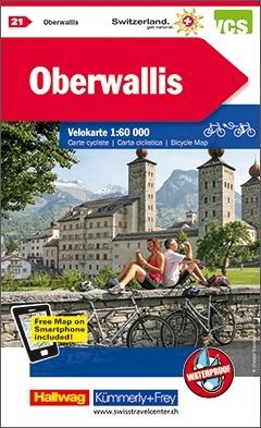 KFVK-21  Oberwallis, Rhônedal, fietskaart 1:60.000 9783259024218  Kümmerly & Frey   Fietskaarten Wallis