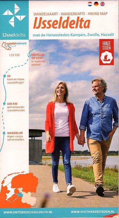 Wandelkaart IJsseldelta 1:33.333 9789083070308  Marketing Oost Wandelnetwerk Overijssel  Wandelkaarten Kop van Overijssel, Vecht & Salland