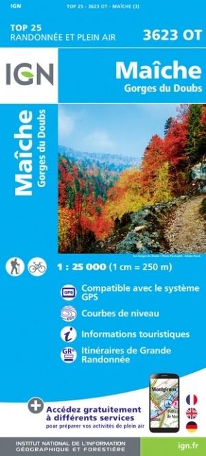 wandelkaart 3623OT Maiche,  Gorges du Doubs 1:25.000 9782758550426  IGN IGN 25 Jura (F)  Wandelkaarten Franse Jura