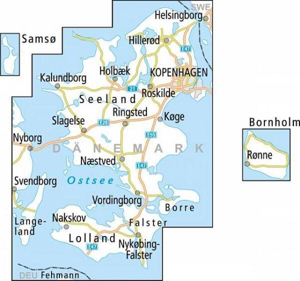 ADFC-DK3 Sjaelland (Zeeland) met Kopenhagen fietskaart 1:150.000 9783870739423  ADFC / BVA Radtourenkarten 1:150.000  Fietskaarten Denemarken