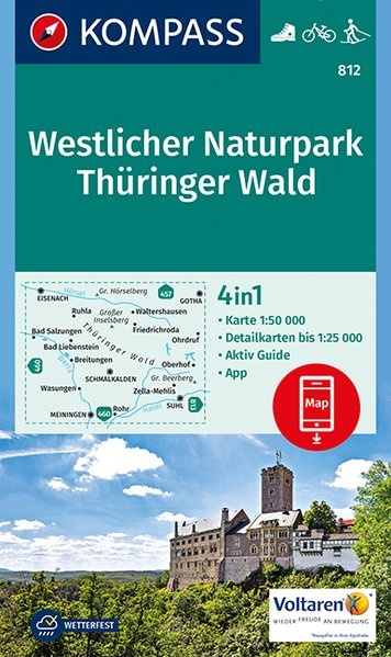 KP-812  Thüringer Wald West 1:50.000 | Kompass wandelkaart 9783990448502  Kompass Wandelkaarten Kompass Duitsland  Wandelkaarten Thüringen, Weimar, Rennsteig