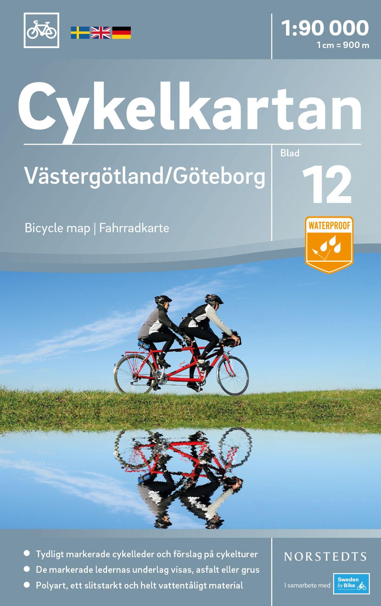 NC-12 Västergötland 1:90.000 9789113083964  Norstedts Cykelkartan Fietskaarten Zweden  Fietskaarten Zuid-Zweden