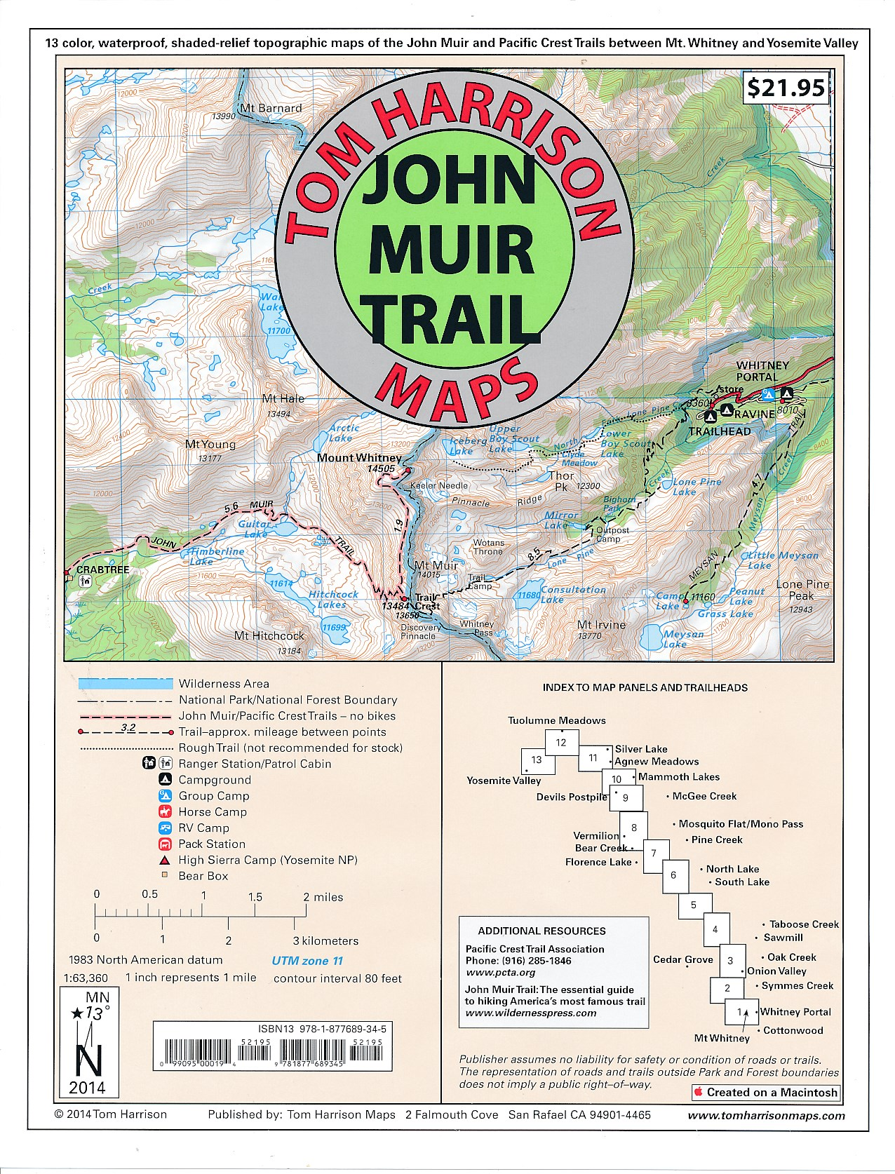 John Muir Trail | wandelkaarten 1:63.360 9781877689345  Tom Harrisons Maps   Wandelkaarten California, Nevada
