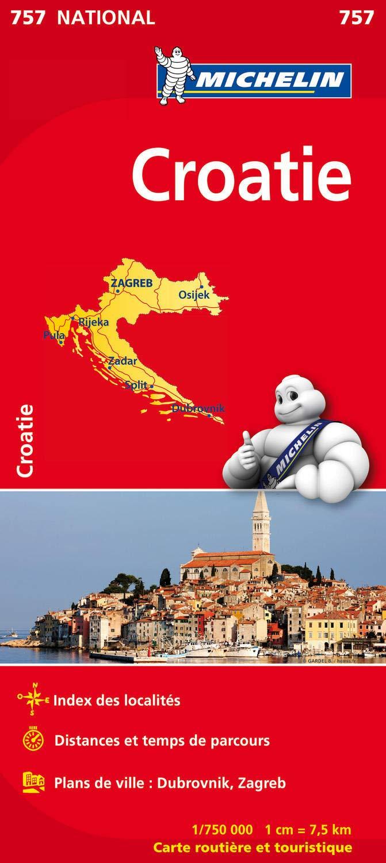 757  Kroatië 1:750.000 9782067173057  Michelin   Landkaarten en wegenkaarten Kroatië