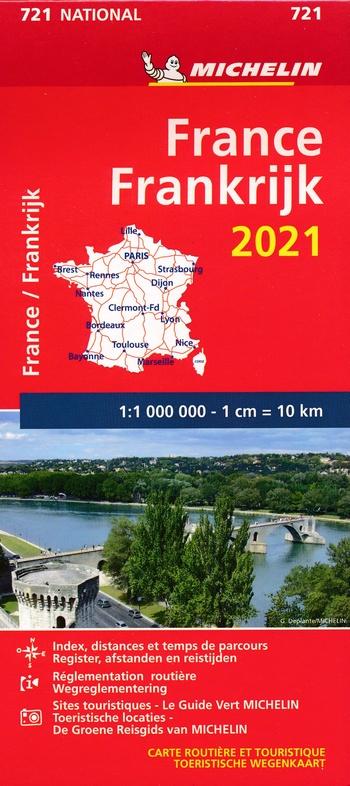 721 Frankrijk 1:1.000.000  2021 9782067249394  Michelin Michelinkaarten Jaaredities  Landkaarten en wegenkaarten Frankrijk