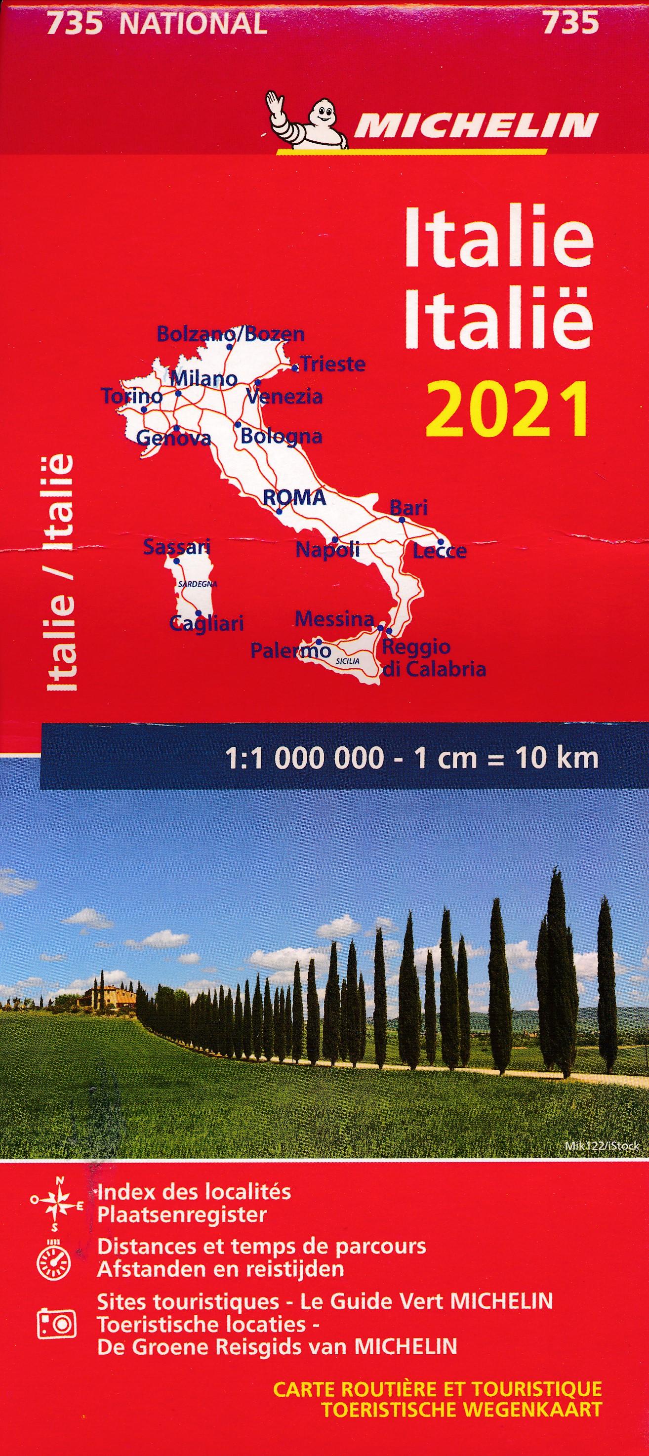 735 Italie, 1:1.000.000 9782067249417  Michelin Michelinkaarten Jaaredities  Landkaarten en wegenkaarten Italië