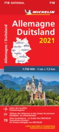 718 Duitsland 1:750.000, met register 2021 9782067249561  Michelin Michelinkaarten Jaaredities  Landkaarten en wegenkaarten Duitsland