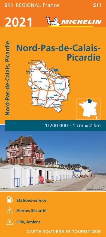 511 Nord / Pas-de-Calais / Picardie | Michelin  wegenkaart, autokaart 1:200.000 9782067249646  Michelin Regionale kaarten  Landkaarten en wegenkaarten Picardie, Nord