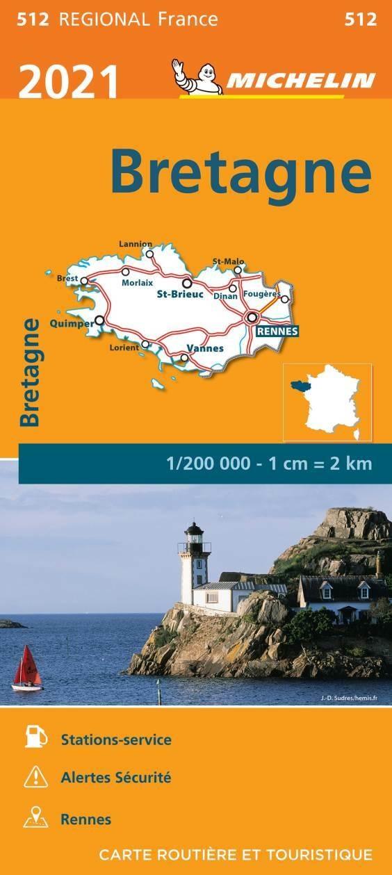 512 Bretagne | Michelin  wegenkaart, autokaart 1:200.000 9782067249653  Michelin Regionale kaarten  Landkaarten en wegenkaarten Bretagne