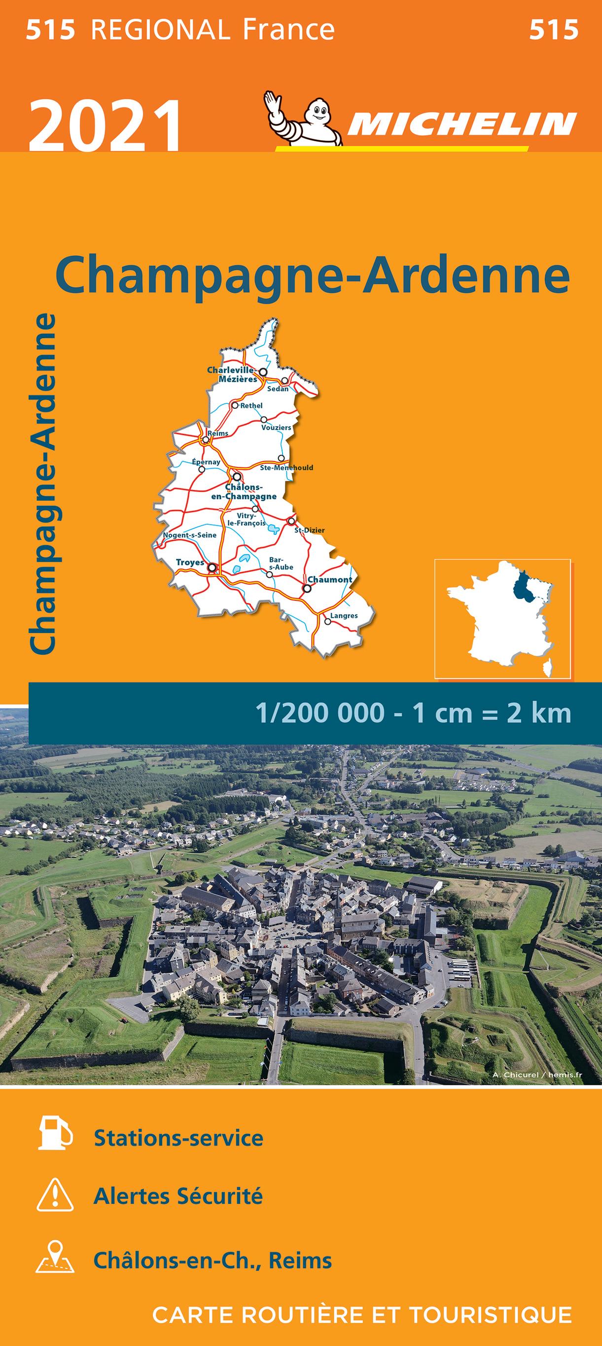 515 Champagne-Ardenne 1:200.000 9782067249684  Michelin Regionale kaarten  Landkaarten en wegenkaarten Champagne, Franse Ardennen
