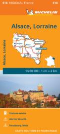 516 Alsace-Lorraine | Michelin  wegenkaart, autokaart 1:200.000 9782067249691  Michelin Regionale kaarten  Landkaarten en wegenkaarten Noordoost Frankrijk