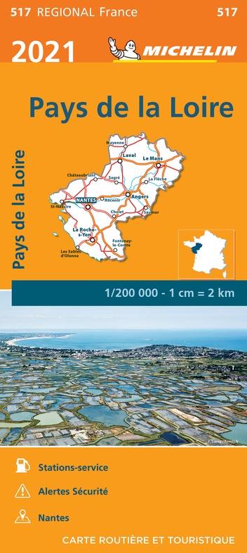 517 Pays-de-Loire 1:200.000 9782067249707  Michelin Regionale kaarten  Landkaarten en wegenkaarten Loire & Centre