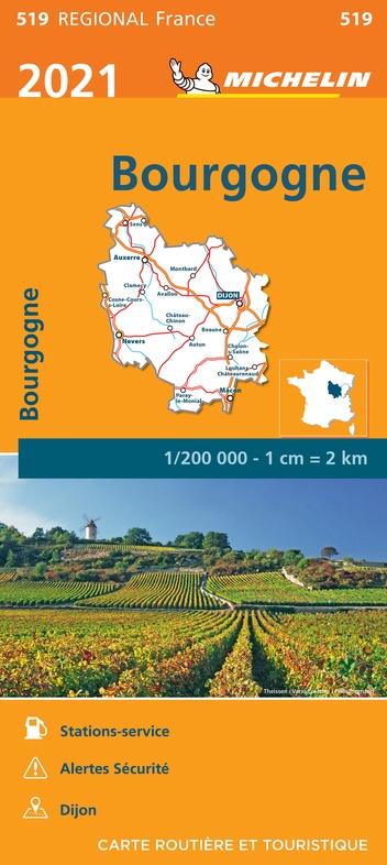 519 Bourgogne | Michelin  wegenkaart, autokaart 1:200.000 9782067249721  Michelin Regionale kaarten  Landkaarten en wegenkaarten Bourgogne