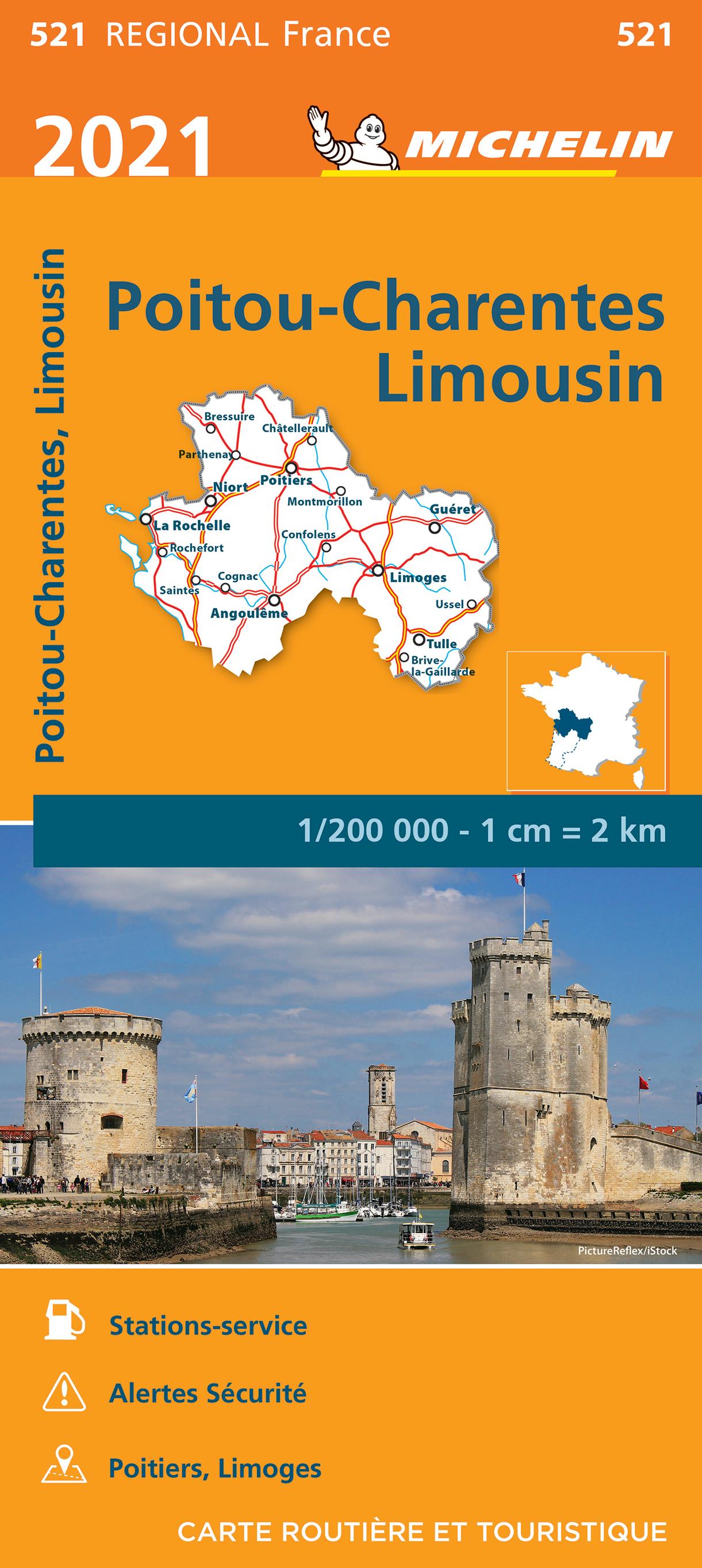 521 Poitou-Charentes | Michelin  wegenkaart, autokaart 1:200.000 9782067249745  Michelin Regionale kaarten  Landkaarten en wegenkaarten Vendée, Charente