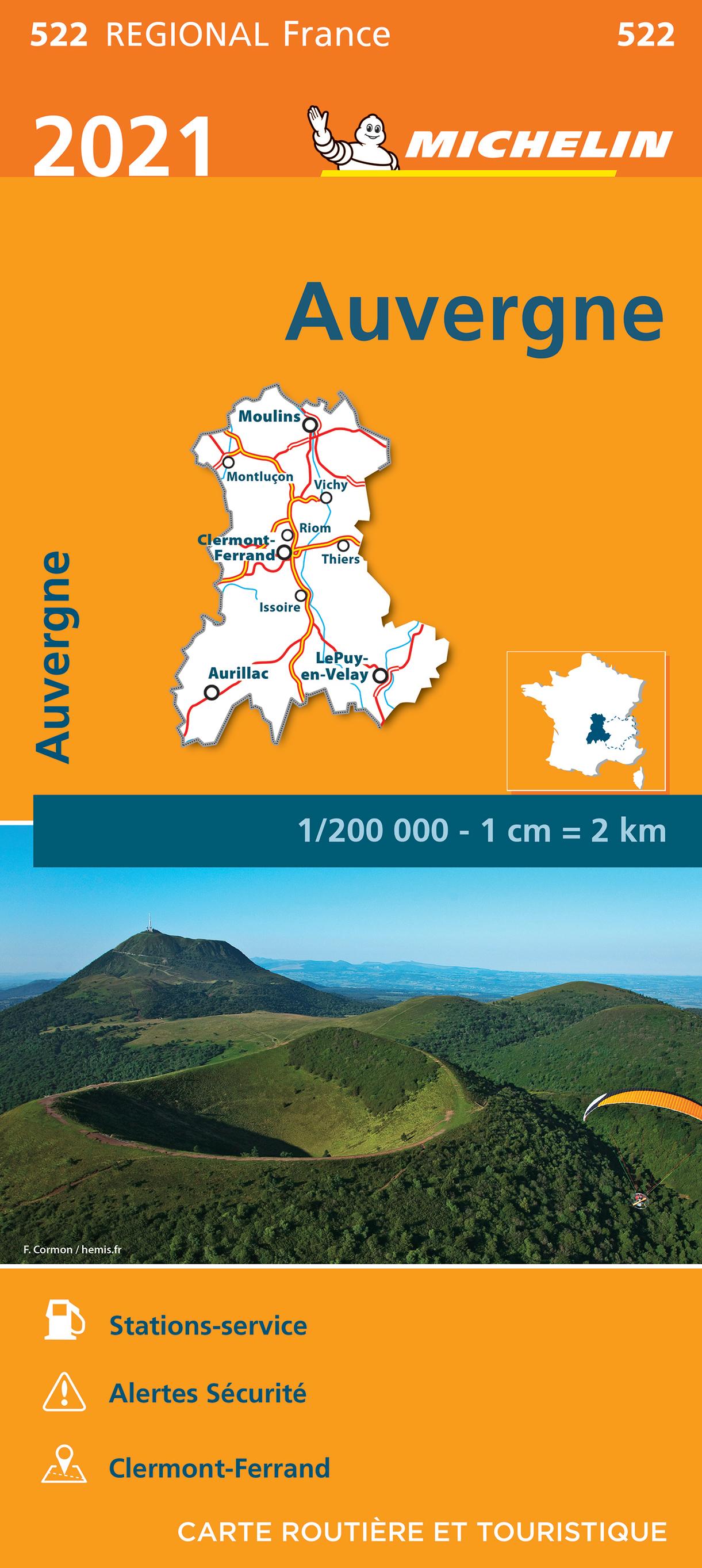 522 Auvergne / Limousin | Michelin  wegenkaart, autokaart 1:200.000 9782067249752  Michelin Regionale kaarten  Landkaarten en wegenkaarten Auvergne
