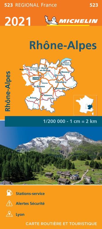 523 Rhône-Alpes | Michelin wegenkaart, autokaart 1:200.000 9782067249769  Michelin Regionale kaarten  Landkaarten en wegenkaarten Ardèche, Drôme, Franse Alpen: noord
