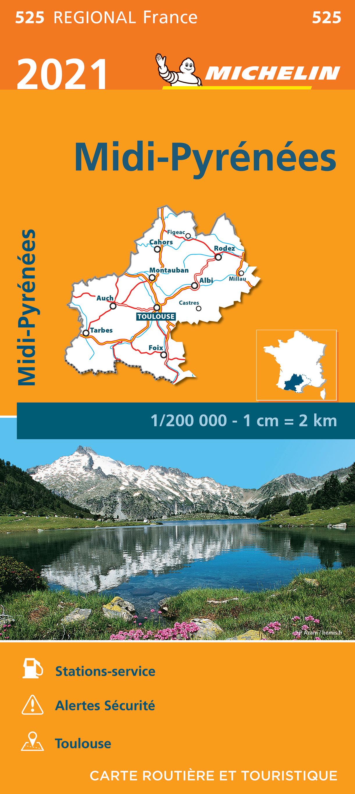 525 Midi-Pyrénées | Michelin  wegenkaart, autokaart 1:200.000 9782067249783  Michelin Regionale kaarten  Landkaarten en wegenkaarten Franse Pyreneeën