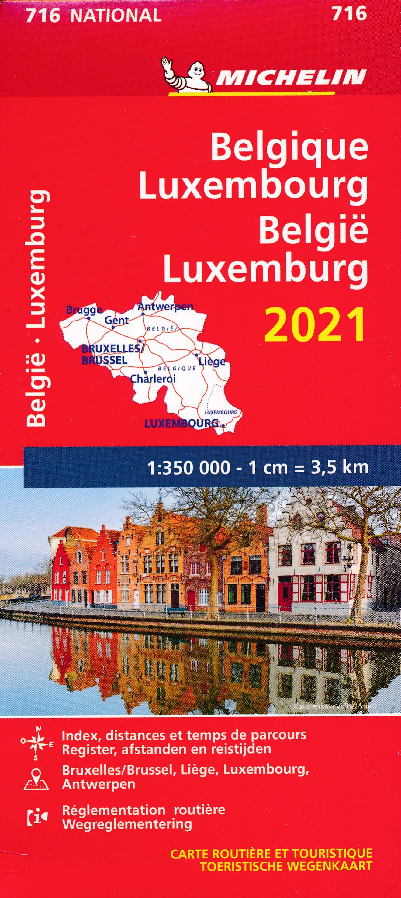 716 Belgie/Luxemb. 1:350.000, met register 2021 9782067249967  Michelin Michelinkaarten Jaaredities  Landkaarten en wegenkaarten België & Luxemburg