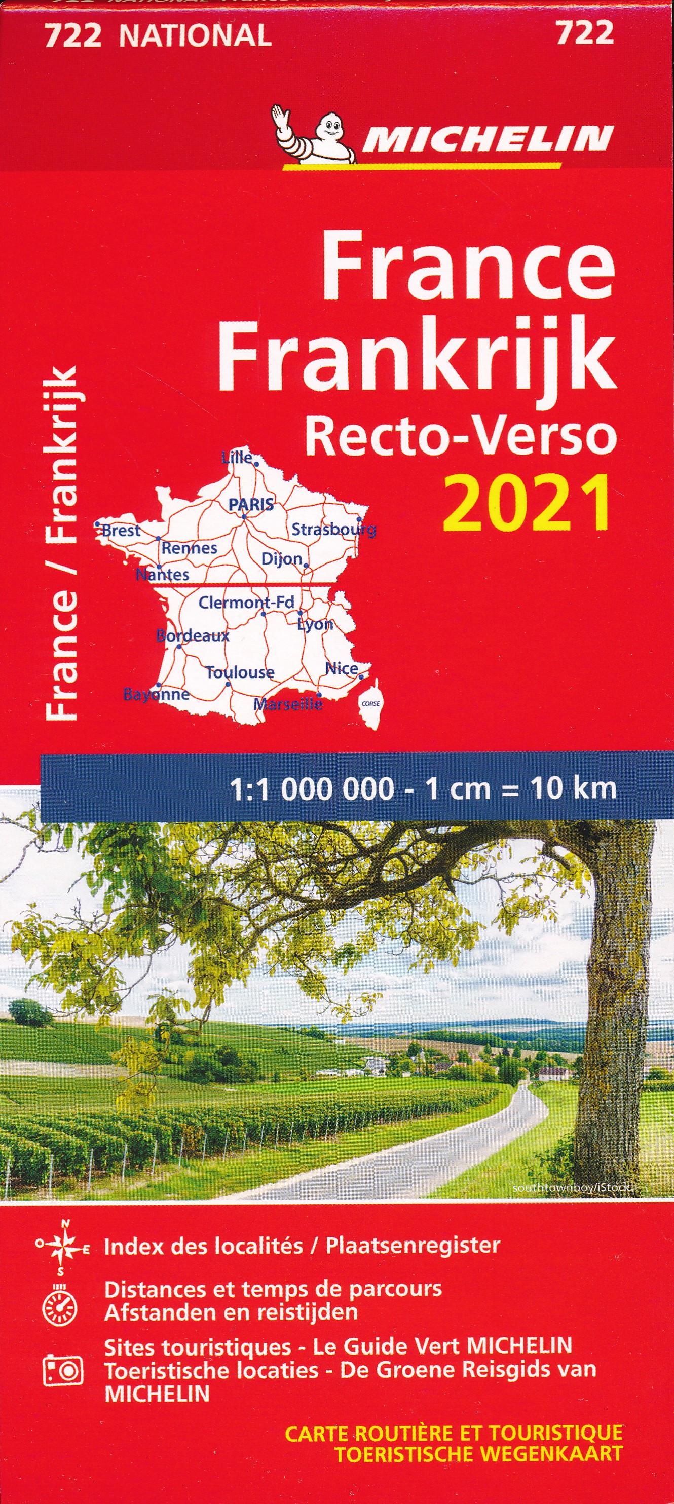 722 Frankrijk recto-verso 1:1m. 2021 9782067250000  Michelin Michelinkaarten Jaaredities  Landkaarten en wegenkaarten Frankrijk