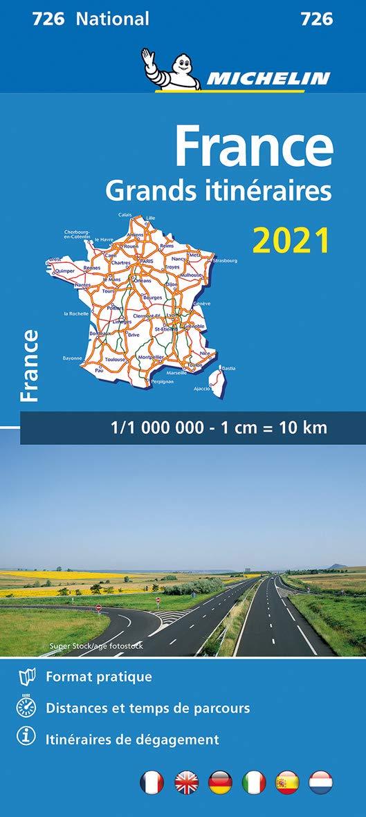 726 Grands Itinéraires France 1:1.000.000 2021 9782067250024  Michelin Michelinkaarten Jaaredities  Landkaarten en wegenkaarten Frankrijk