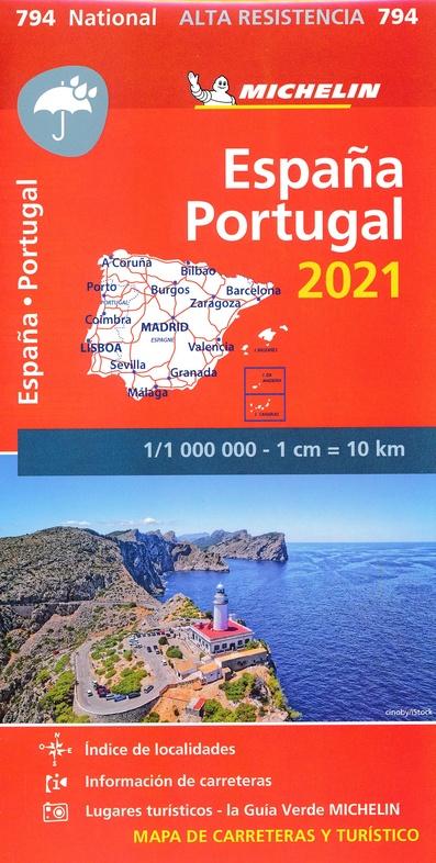 794  Spanje en Portugal 1:1.000.000 (onverscheurbaar) 2021 9782067250086  Michelin Michelinkaarten Jaaredities  Landkaarten en wegenkaarten Spanje
