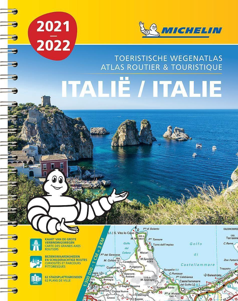 468  Italie Atlas 1:300.000 2021 (spiraalband) 9782067250147  Michelin Wegenatlassen  Wegenatlassen Italië