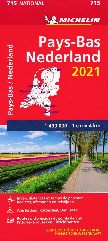 715  Nederland | Michelin  wegenkaart, autokaart 1:400.000 2021 9782067250154  Michelin Michelinkaarten Jaaredities  Landkaarten en wegenkaarten Nederland