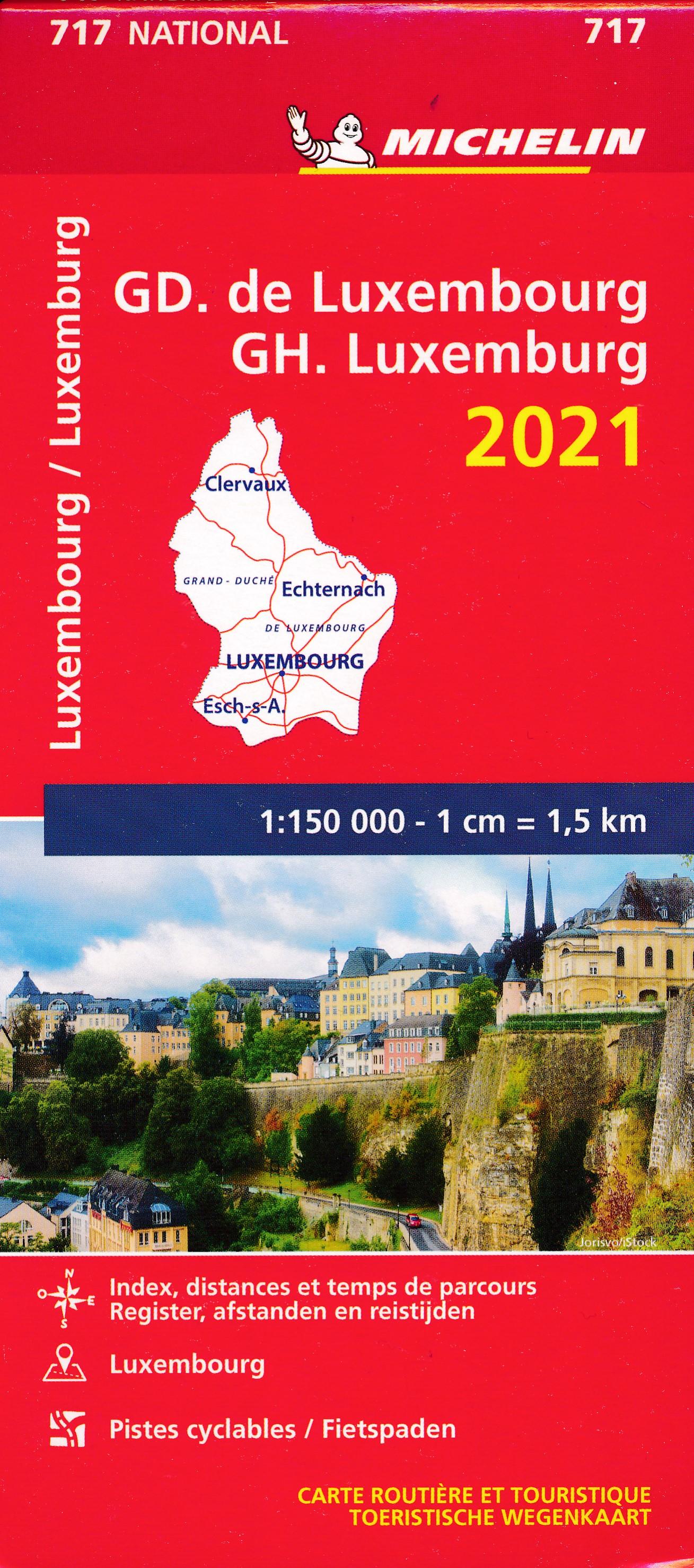 717 Luxemburg, Groothertogdom 1:150.000, 2021 9782067250161  Michelin Michelinkaarten Jaaredities  Landkaarten en wegenkaarten Luxemburg
