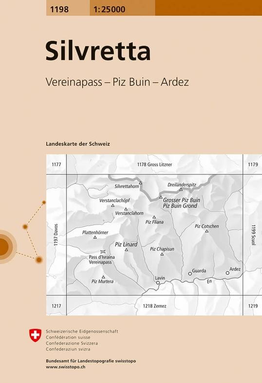 CH-1198  Silvretta [2016] topografische wandelkaart 9783302011981  Bundesamt / Swisstopo LKS 1:25.000  Wandelkaarten Graubünden, Tessin