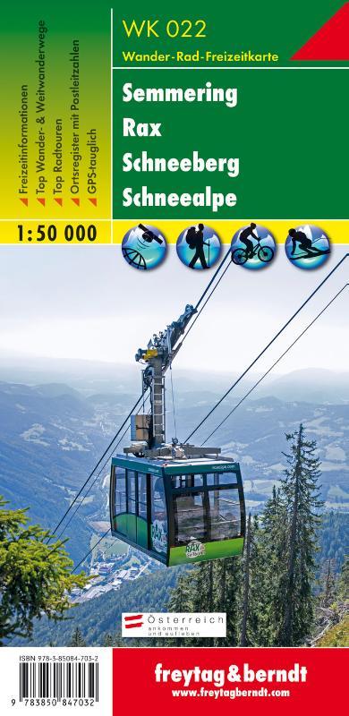 WK-022  Semmering - Rax - Schneeberg 9783850847032  Freytag & Berndt WK 1:50.000  Wandelkaarten Wenen, Noord- en Oost-Oostenrijk