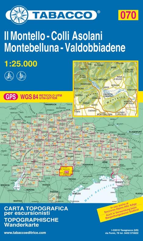 TAB-070 Il Montello, Montebelluna   Tabacco wandelkaart 9788883151194  Tabacco Tabacco 1:25.000  Wandelkaarten Venetië, Veneto, Friuli