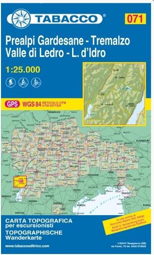 TAB-071 Prealpi Gardesane, Valle di Ledro | Tabacco wandelkaart 9788883151217  Tabacco Tabacco 1:25.000  Wandelkaarten Gardameer