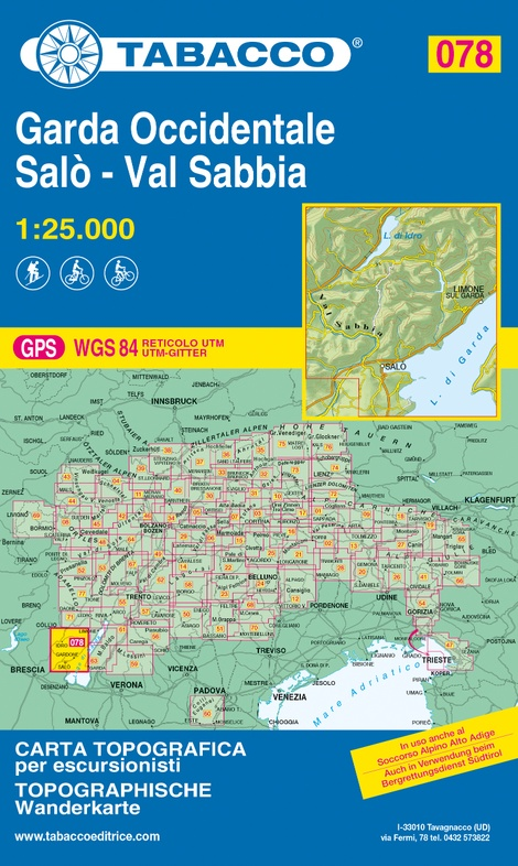 TAB-078 Garda Occidentale | Tabacco wandelkaart 9788883151330  Tabacco Tabacco 1:25.000  Wandelkaarten Gardameer
