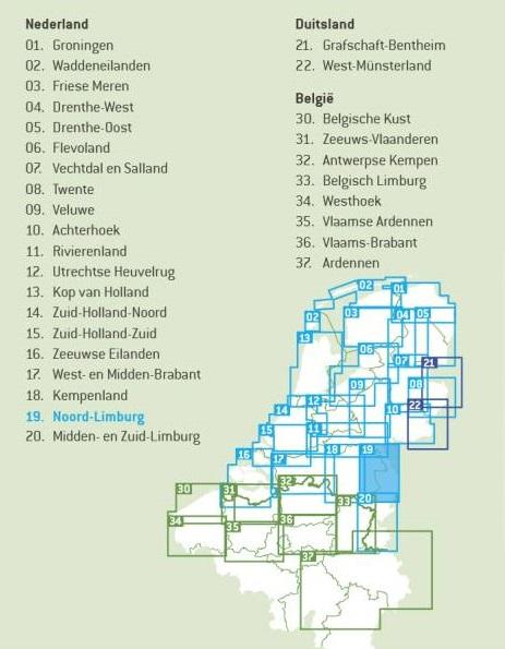FFK-19  Noord- en Midden-Limburg   VVV fietskaart 1:50.000 9789028703902  Falk Fietskaarten met Knooppunten  Fietskaarten Noord- en Midden-Limburg
