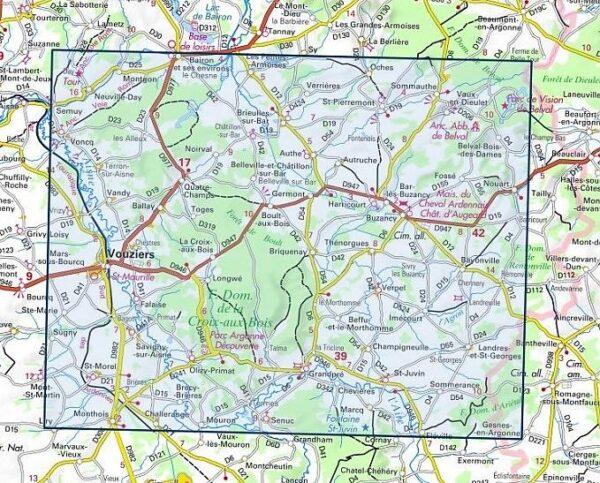 wandelkaart 3011-SB Vouziers, Grandpré 1:25.000 9782758539667  IGN IGN 25 Champagne / Ardennes  Wandelkaarten Champagne, Franse Ardennen
