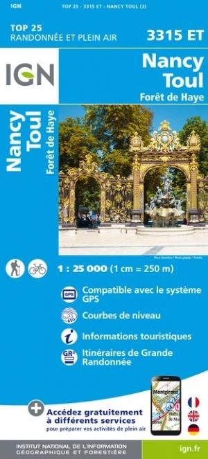 3315ET  omgeving Nancy | wandelkaart 1:25.000 9782758540700  IGN IGN 25 Lotharingen  Wandelkaarten Lotharingen, Nancy, Metz