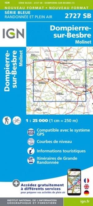 SB-2727SB  Dompierre-sur-Besbre, Molinet 9782758541615  IGN IGN 25 Auvergne  Wandelkaarten Auvergne, Bourgogne